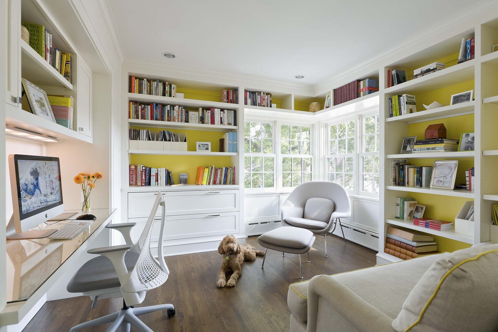 Andrea Rugg Photography   Bright sunny white and yellow home office ...