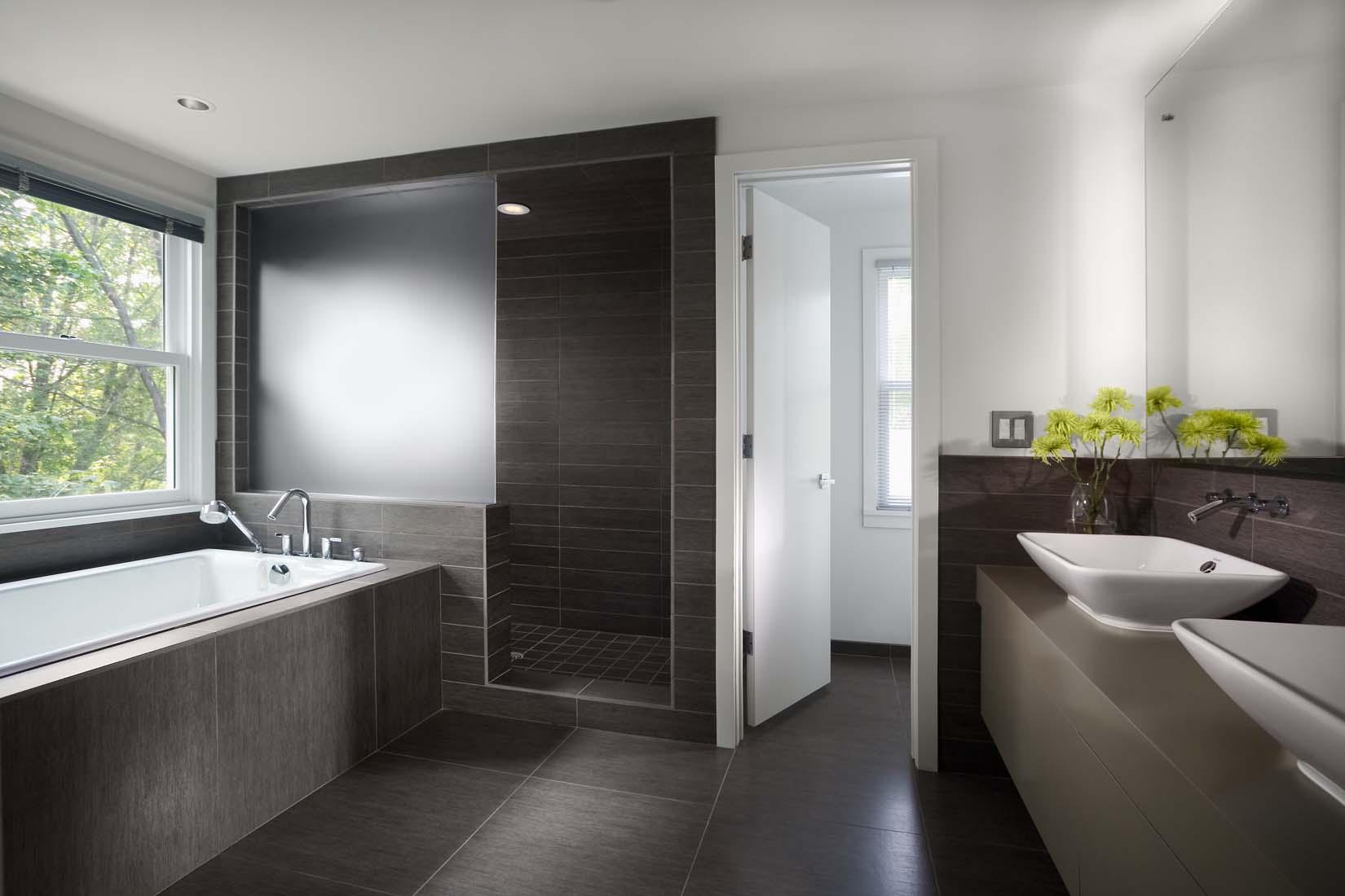 Modern Bathroom With Gray Tiled Floor Platform Tub And Walk In Shower