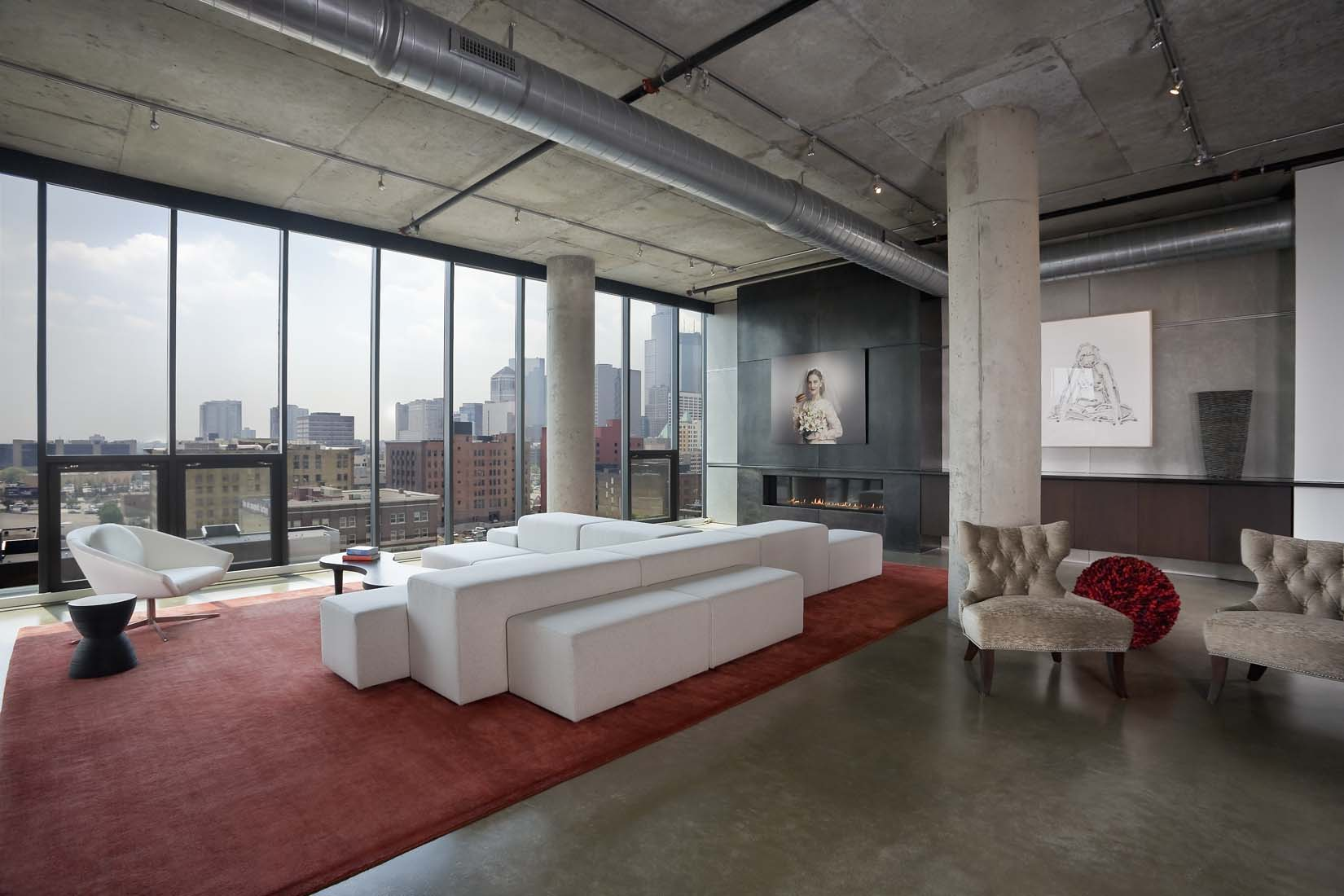 Modern Loft Space Showing Living Room With View Of Downtown Minneapolis