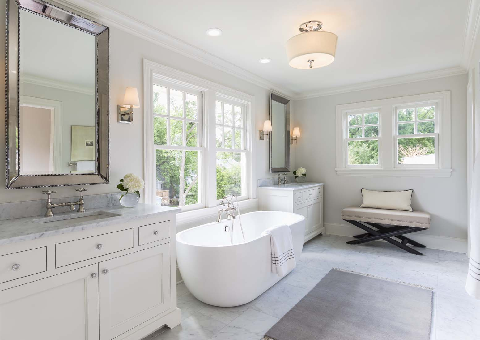 Andrea Rugg Photography | High end white master bathroom with large ...
