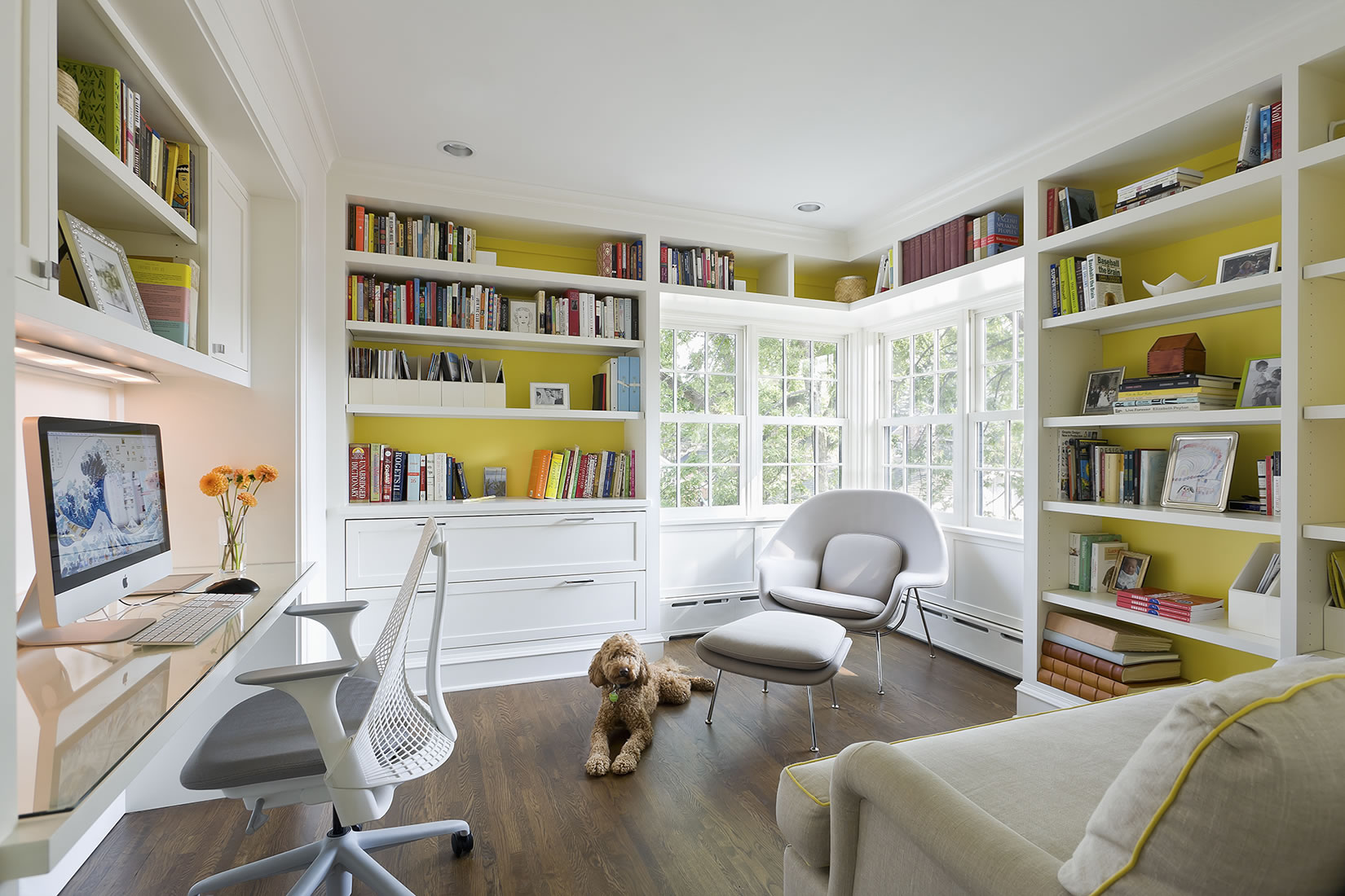 Andrea Rugg Photography | Bright sunny white and yellow home office ...
